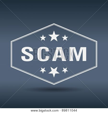 Scam Hexagonal White Vintage Retro Style Label