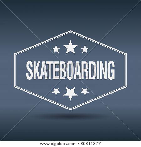Skateboarding Hexagonal White Vintage Retro Style Label