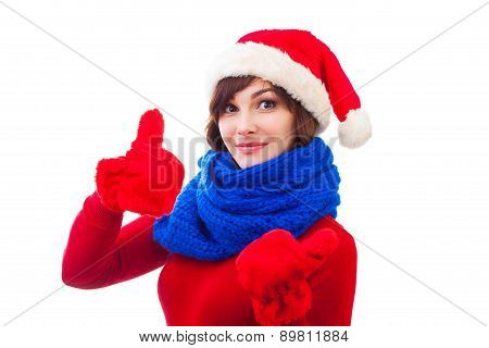 portrait of attractive caucasian adult woman isolated on white studio shot in santa's hat blue scar