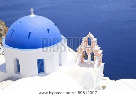 Church Cupola On Santorini