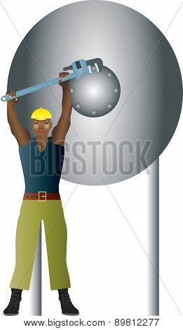 Man Holding Wrench