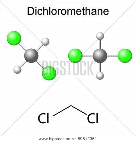 Structural Chemical Formula And Model Of Dichloromethane Molecule