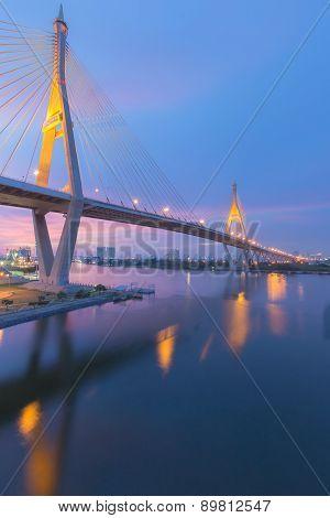 Suspension bridge Bhumibol bridge river front view after sunset