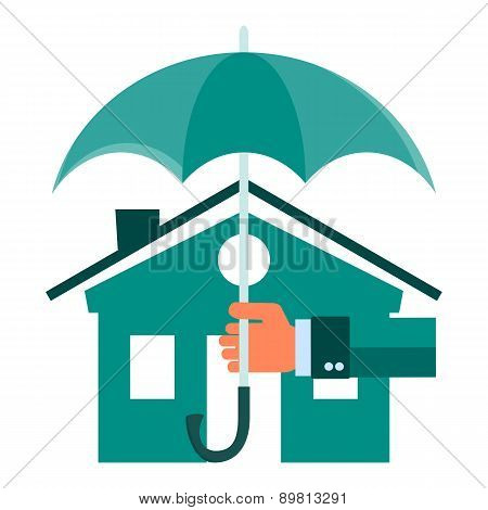 Vector House Insurance Concept In Flat Style - Infographic Design Elements And Icons - Agent's Hand