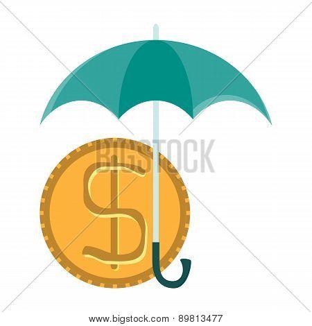 Vector Dollar Coin Under Umbrella
