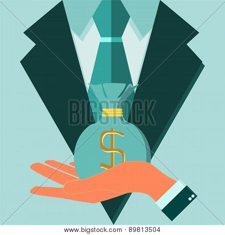 Concept Of Profession Suit. Investor, Businessman  With Money. Vector Illustration