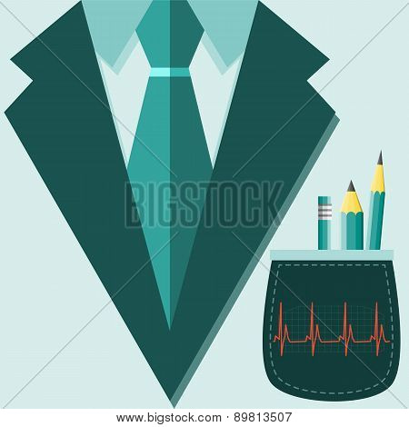 Concept Of Profession Suit.doctor With A Pencil In His Pocket And Cardiogramm. Vector Illustration