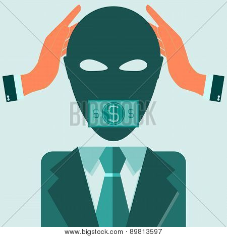 Man In Suit Covering His Ears With His Hands And His Mouth Sealed By Dollar Bills For Bribe Concept