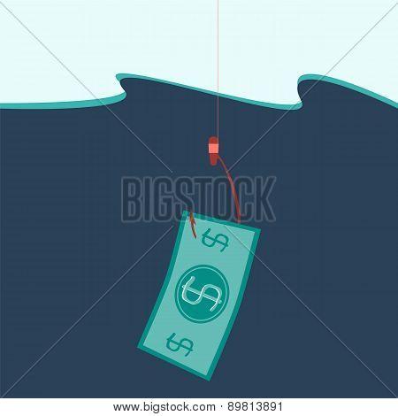 Money Concept Illustration, Money On Hook