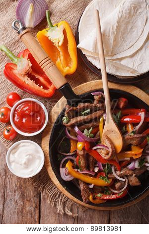 Delicious Fajitas On A Table In A Rustic Style. Vertical Top View