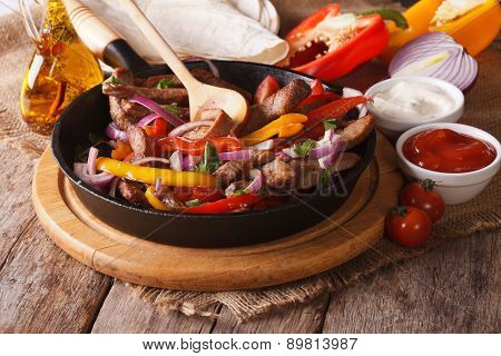 Mexican Fajitas And Ingredients Close-up, Horizontal