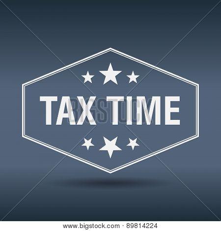 Tax Time Hexagonal White Vintage Retro Style Label