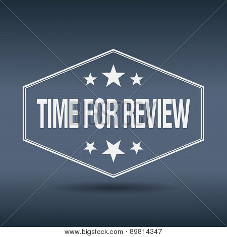 Time For Review Hexagonal White Vintage Retro Style Label