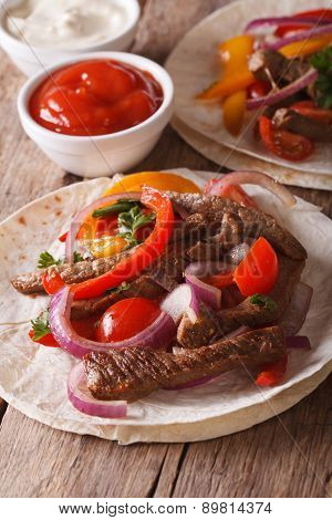 Mexican Food: Tacos With Meat And Vegetables Close-up