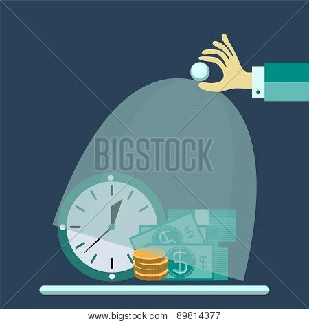 Flat Design Vector Illustration Concept For Saving Time And Money, Trustworthy Business And Financia