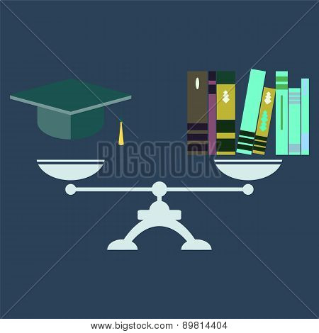 Vector Concept Of Investment In Education  With Books And Scales