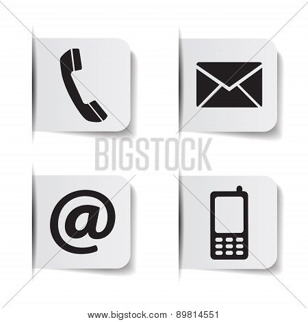 Contact Us Web Icons Paper Labels