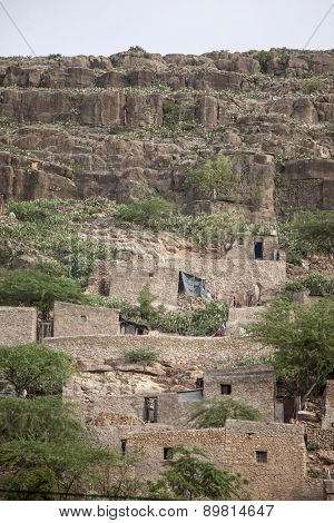 Stone cliff dwellings in Dire Dawa, Ethiopia