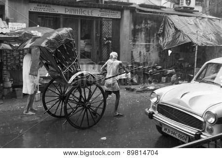 NEW DELHI, INDIA - JULY 15: Street after the monsoon. Monsoon rains are common during the rainy season in India on July 15, 2013 in Mumbai, India.
