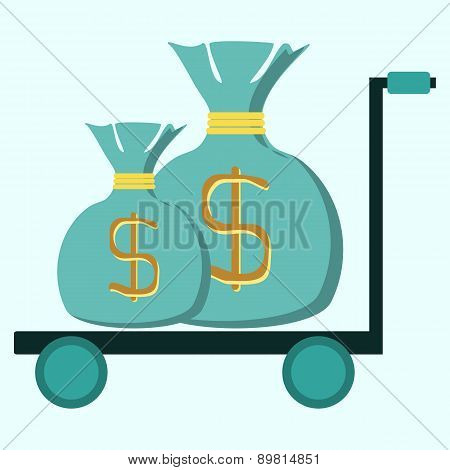 Trolley With Two Bags Of Money