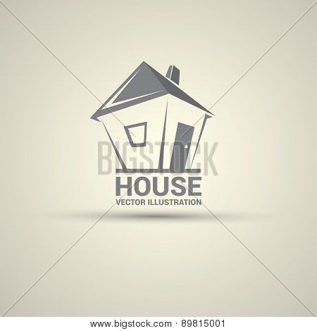 House abstract real estate logo design template.