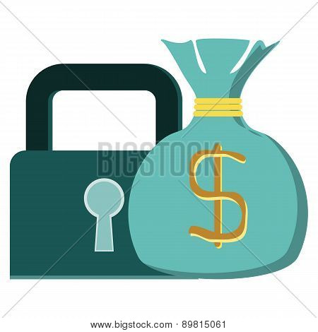 Concept Vector Graphic- Protecting Wealth ( Money ) & Lock Symbol. The Graphic Shows Financial Asset