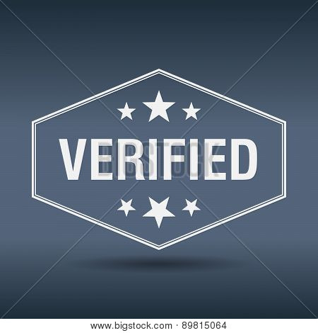 Verified Hexagonal White Vintage Retro Style Label