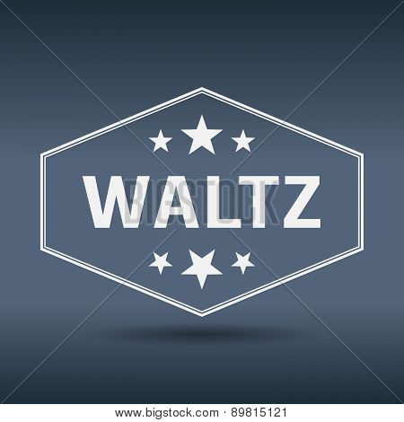 Waltz Hexagonal White Vintage Retro Style Label