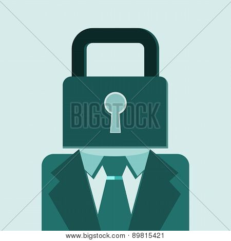 Man In Suit With Padlock In Head