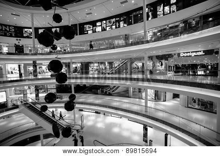 PARIS - SEPTEMBER 08: modern shopping center on September 08, 2014 in Paris, France. Paris, aka City of Love, is a popular travel destination and a major city in Europe