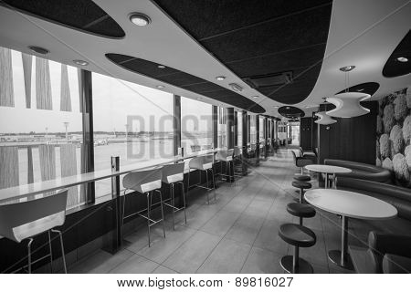 PARIS - SEPTEMBER 04: McDonald's interior in Orly Airport on September 04, 2014 in Paris, France. Paris Orly Airport is an international airport located partially in Orly, south of Paris