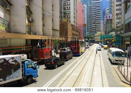 HONG KONG - APRIL 16, 2015: Hong Kong downtown. Hong Kong is a semi-autonomous city state on the southern coast of China at the Pearl River Estuary and the South China Sea