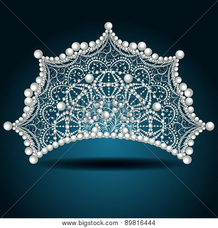 Crown Tiara With Pearl White Female