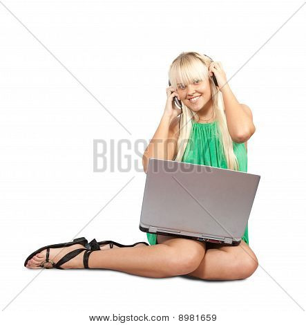 Casual Woman With Laptop