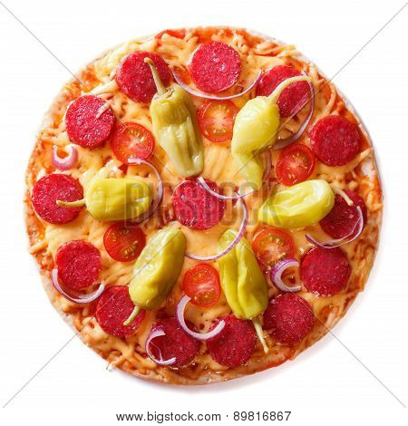 Pizza With Salami, Pepperoni Peppers Closeup Isolated