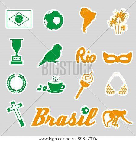 Color Brazil Stickers And Symbols Set Eps10