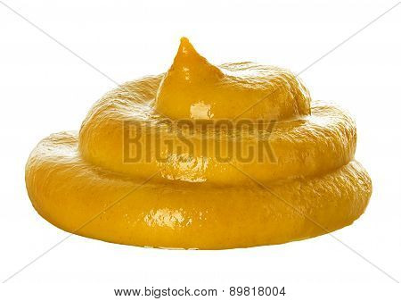 Handful Mustard Sauce Isolated On White Background.