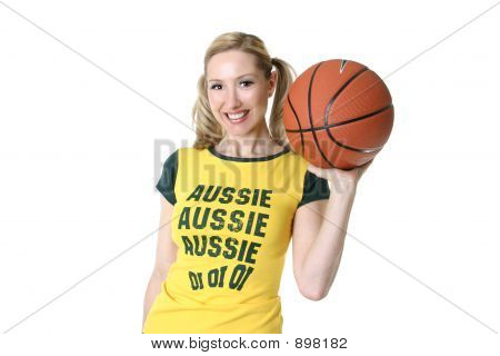 Sporty Girl With A Basketball