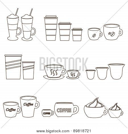 Coffee Cups And Mugs Sizes Variations Outline Icons Set Eps10