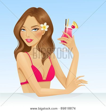 Girl on vacation with a cocktail