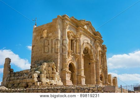 The Arch Of Hadrian At Jersah In Jordan