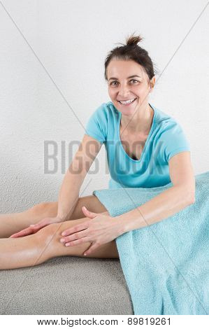 Young Woman Is Ready For Ankle's Massage