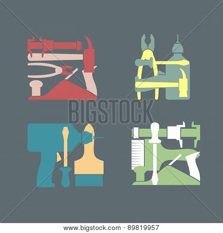 Set logo Construction tools