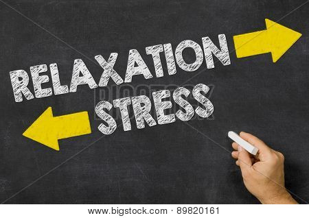 Relaxation Or Stress Written On A Blackboard