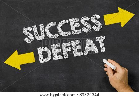 Success Or Defeat Written On A Blackboard