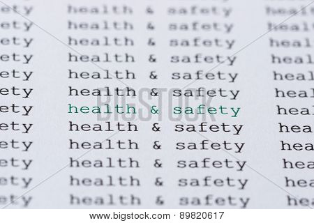 Health & safety text type