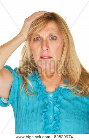 Nervous Woman With Hand On Head