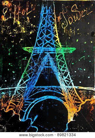 Eiffel Tower Painted