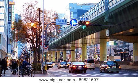 Osaka, Japan- March 2015- Ordinary Street View In Evening