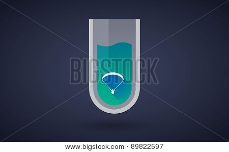 Blue Chemical Test Tube Icon With A Paraglider